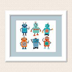 Robot Art -  Instant Download art - Nursery Art  Digital Printable Art -  8 x 10 by TracyAnnPrintables on Etsy