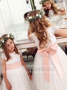 cc857a05781f White Cute Lace Top With Beaded Floor-Length Tulle Flower Girl Dress With  Belt,