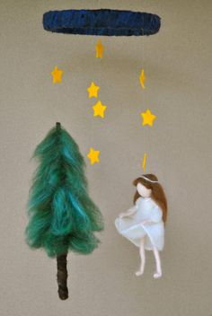 Waldorf inspired needle felted doll mobile: The Star by MagicWool