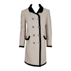 1960's Italian Couture Ivory & Black Waffle Silk-Pique Mod Double-Breasted Coat | From a collection of rare vintage coats and outerwear at https://www.1stdibs.com/fashion/clothing/coats-outerwear/