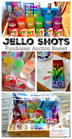 Jello Shots Fundraiser Auction Basket - A rainbow of liquor bottles with matching Jello flavors, along with rainbow colored shot glasses. So rad! | HousewifeHellraiser.com  #giftbasket #auctionbasket #fundraiser