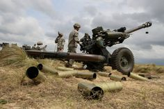 airbornebear:  Paratroopers from the 2nd Battalion, 319th Airborne Field Artillery Regiment, 82nd Airborne Division Artillery, fire rounds from an M119A3 howitzer on Fort Bragg, North Carolina, April 14, 2015. The Black Falcons remain aligned to the 2nd Brigade Combat Team, 82nd Abn. Div. for Combined Joint Operational Access Exercise 15-01, the largest bilateral exercise held on Fort Bragg in almost 20 years.(Photo by Staff Sgt. Jason Hull, 82nd Airborne Division)