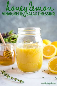 easy and healthy Honey Lemon Vinaigrette Salad Dressing in mason jar with honey pot This easy and healthy Honey Lemon Vinaigrette Salad Dressing is perfect for all your favourite salads, and it's simple to make with only a few basic ingredients! Vinaigrette Salad Dressing, Salad Dressing Recipes, Salad Dressing Healthy, Green Salad Dressing, Honey Lime Vinaigrette, Lemon Salad Dressings, Easy Salads, Honey Lemon, Food Storage