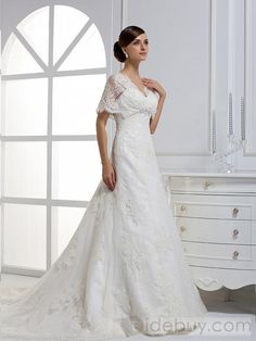Beautiful A-line/Princess Short Sleeves Sweetheart Floor-length Chapel Train Wedding Dress