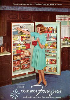 Sears Coldspot Freezer Ad, Holy crap look at all the boxed dinners and meat in this freezer! Retro Advertising, Retro Ads, Vintage Advertisements, Vintage Ads, Vintage Posters, Vintage Humor, Vintage Stuff, Retro Humour, Vintage Girls