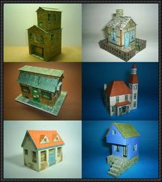 Six House Paper Models Free Templates DownloadTwo Simple Building Paper Model Templates Free Download    papercraftsquare.com