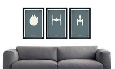 """Star Wars minimalistic poster set, ships, Millenium Falcon, Tie Fighter, X-Wing Fighter, 11""""x17"""""""