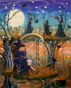 Folk Art Halloween WiTcH Musical Witches Folk Art  by sunbyrum, $10.99