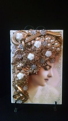 Journal, Book, Photo of Victorian Lady, Gold Tone Vintage Jewelry, White Roses, Rhinestones, Book Trimmed in White Faux Leather