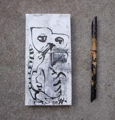 Katze Zeichnung LW 20x10x2cm Sonja Zeltner-Müller Düsseldorf
