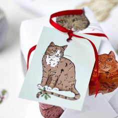 This set of eight Tabby Cat gift tags features a charming orginal illustration, and fastens with string! An ideal finishing touch to Christmas gift wrap!The drawing of Tabby Cat against a mint green background fills the front of each tag whilst the back is left blank for you to write your own messages. The Christmas gift tags come with string, making it simple for you to attach onto any gift or present. This set of eight cat Chrismtas tags makes a wonderful finishing touch to a simple brown…