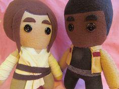 Handmade Rey and Finn plush felt dolls on Etsy