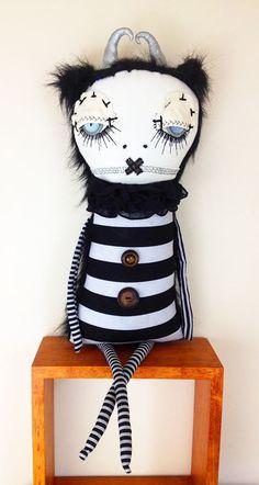 "Cordelia - by artist Jen Musatto - Cloth art doll, plush, fiber sculpture, 22"" - $150"