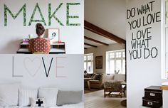 Frases ou palavras na parede - para decorar a casa com WashiTape (decotape);