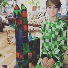 Magna-Tect Kai and his Magna-Tiles alpaca! Magna-Tects, did you know that real-life alpacas have an average height at the shoulder of 3 feet (91.4 centimeters)? Cool! #magnatiles #math #science #creativity By Magna-Tect Mom @emm0607
