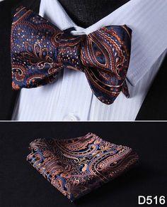Paisley Floral Dot 100%Silk Jacquard Woven Men Butterfly Self Bow Tie BowTie Pocket Square Handkerchief Hanky Suit Set #D5