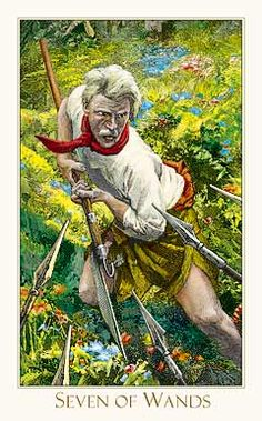 The Seven of Wands can appear in your Reading after you have obtained a long sought after goal or achievement.  What you have striven for or fought for is now yours but it does not appear to be bringing you the happiness you had hoped for.  What it has brought you is a lot of extra work and a massive headache. {Victorian Romantic Tarot}