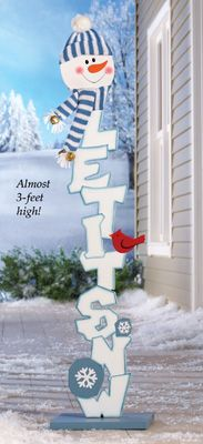 Snowman Let It Snow Christmas Garden Stake Decoration