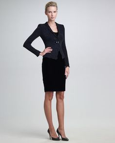 Armani Collezioni Glittered Jersey Jacket, Sleeveless Jersey Tee & Satin-Waist Pencil Skirt - Neiman Marcus