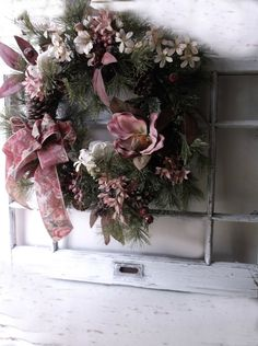 Vintage Wood Paned Window Frame. White Rustic by 3vintagehearts