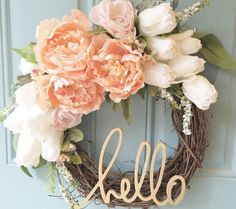 DIY wreath, beautiful blush and gold wreath is a MUST HAVE, spring season, summer season, door decor, front door decor, white tulips and blush pink peonies, put it on your mantle or shelf! Welcome guests, cute phrase, hello, do it yourself wreath, home decor, diy decor, (aff link)