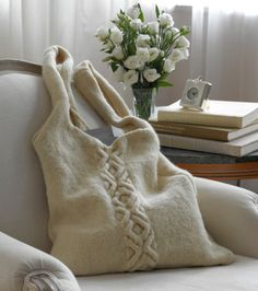 Make this fun and felted bag in LB Collection® Pure Wool! It's 100% undyed, roving-style yarn (ideal for hand dyeing and felting) that is spun in the USA from fiber from American-raised sheep.