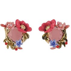 Les Néréides WINTER GARDEN FLOWERS BOUQUET AND STONE EARRINGS (£150) ❤ liked on Polyvore featuring jewelry, earrings, jewelry earrings, pink, heart earrings, pink flower earrings, stone jewelry, earring jewelry and stone earrings