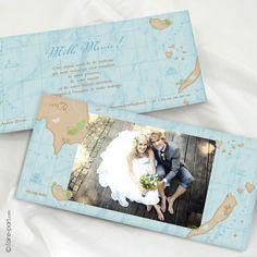 Carte de Remerciement Mariage Trésor - www.faire-part.com