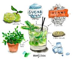 I love a mojito! I add Prosecco instead of club soda.It is easy to grow your own mint in a garden or pot. I add only sugar. Lovely illustration by Lauren Monaco. Cocktail Fruit, Cocktail Recipes, Cocktails, Cartoon Recipe, Lime Drinks, Recipe Drawing, Watercolor Food, Food Painting, In Vino Veritas