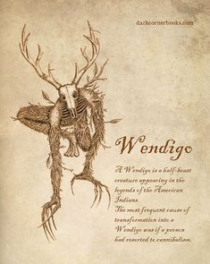 Wendigo - A Wendigo is a half-beast creature appearing in the legends of the American Indians. The most frequ - Wendigo - A Wendigo is a half-beast creature appearing in the legends of the American Indians. The most frequ - Mythical Creatures Art, Mythological Creatures, Magical Creatures, Mythological Monsters, Japanese Mythical Creatures, Dark Creatures, Le Wendigo, Wendigo Legend, Myths & Monsters