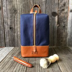 Hanging Toiletry Bag - Mens Dopp Kit - Personalized Dopp Kit - Navy   Tan 2927f9afc2184