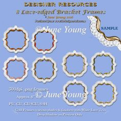 Lace-edged Bracket Frames - Gold : The Designer Twins ...where creativity encounters quality and value
