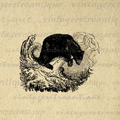 Antique Black Bear Digital Graphic by VintageRetroAntique on Etsy