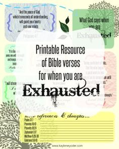 What God saays when you are Exhausted printable