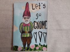 Hand Painted Large Booklet // Hipster Gnome // by PeelsandPosies, $12.00