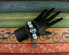 """BEADED CHAIN BRACELET-Steampunk Bracelet-Shabby Chic-Teal Green-White-Silver-Copper-Brass-Adjustable-7"""" to 9 1/2""""-Lobster Claw Clasp-Cuff by TheShabbyJean on Etsy https://www.etsy.com/listing/259493862/beaded-chain-bracelet-steampunk-bracelet"""