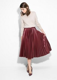 office party style: pleated faux leather midi skirt + fitted neutral sweater