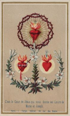 """Sacred Heart: """"It is the heart of Jesus which gives to us the hearts of Mary and Joseph"""""""