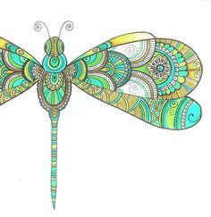 Zentangle Paisley Dragonfly Drawing Instant от DHANAdesign на Etsy