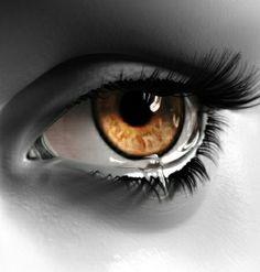 Sad eyes with tears - Beautiful lite brown