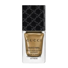 Gucci Iconic Gold, Bold High-Gloss Lacquer (£20) ❤ liked on Polyvore featuring beauty products, nail care, nail polish, beauty, gloss, gold, nails, glossy nail polish, bristle brush and gucci