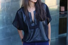 sheer and leather in one shirt #socialblissstyle