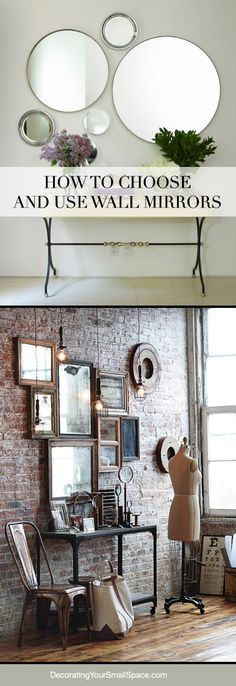 Espelho (ideia - sala de jantar) Tips on How to Choose and Use Wall Mirrors! Diy Mirror, Wall Mirrors, Sunburst Mirror, Storage Mirror, Wall Mirror Ideas, Large Mirrors, Round Mirrors, Deco Dyi, Interior Decorating