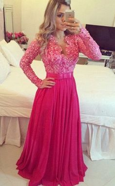 Sweet Rosy Prom Dress,Lace Beading Evening Dress,Chiffon Floor Length Party Dress