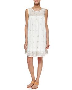 T9XMT Calypso St. Barth Mifan Sequin Woven Dress, White