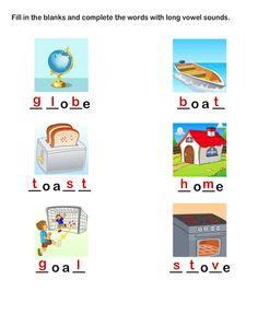 Kids Learning Games and Worksheets | Practice Printable Long Vowels Worksheets | Long Vowel Worksheet 14 for Kids | grade-1 Worksheets