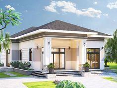 Thiết kế nhà đẹp giá rẻ cấp 4 mái thái ở nông thôn, vùng quê hương tại Long An Small House Design, Dream Home Design, Modern House Design, Modern House Facades, Modern Bungalow House, Minimalis House Design, Modern Roofing, My House Plans, Kerala Houses
