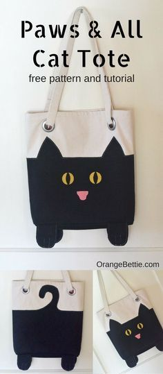 Paws And All Cat Tote Bag – free sewing pattern, tutorial, diy project. Lined. So cute!