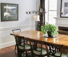Dining Room Farmhouse Style Candle Chandelier Wallpaper Wainscoting Drapes