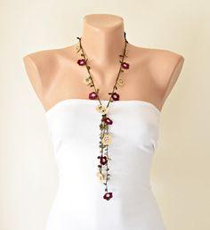 Handmade Crochet Necklace Oya Burgundy Maroon Beige by ReddApple, $32.99